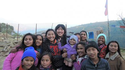 Christina Lee with the beautiful children from the Friends of Himalayan Children Hostel. Photo by Isabella McCarthy