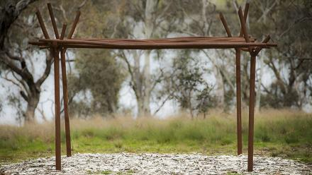 Ngaraka: Shrine for the Lost Koori by Grafton Indigenous artist Djon Mundine. Photo by Stuart Hay.