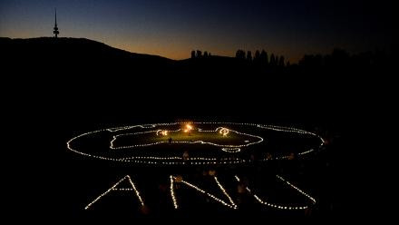 In 2008 ANU had its first Earth Hour celebration. This shot was taken from a cherry picker. Photo by Stuart Hay.