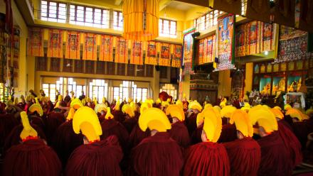 Tibetan Buddhist ceremony, Gyuto monastery, Dharamshala, India. Photo by Getty Images.