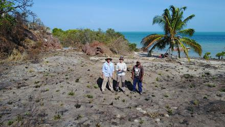Glenn van der Kolk, Dr Duncan Wright and Thomas Mene clearing the archaeological site. Photo by Dr Duncan Wright.