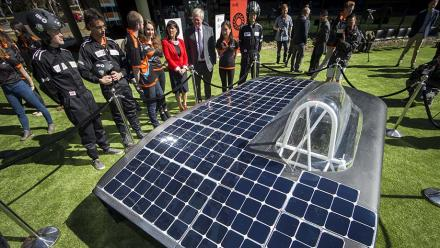 Vice-Chancellor Brian Schmidt unveiling the MTAA Super Charge at ANU. Photo by Stuart Hay.
