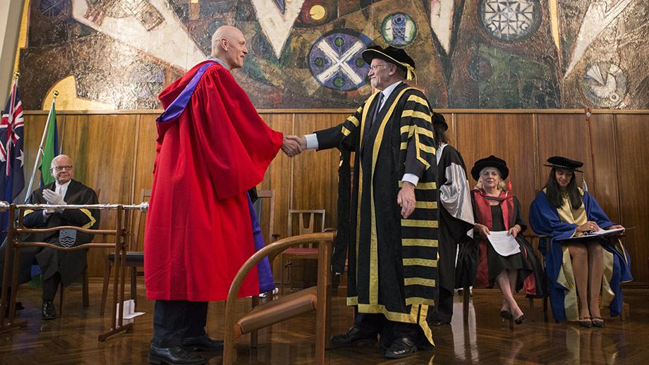 The Honourable Peter Garrett AM and ANU Chancellor, Professor the Honourable Gareth Evans AC QC. Photo by Lannon Harley.
