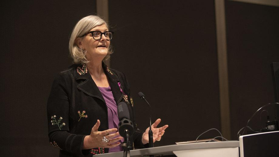 Dr Sam Mostyn delivering the 2019 International Women's Day Lecture at ANU. Photo by Lannon Harley.