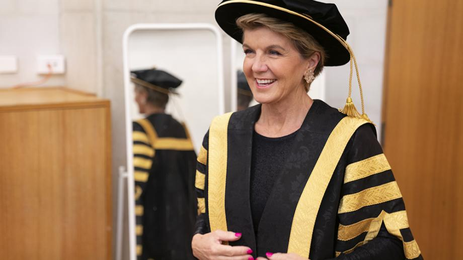 ANU Chancellor, the Hon. Julie Bishop in her official robes, February 2020 Photo: Lannon Harley/ANU