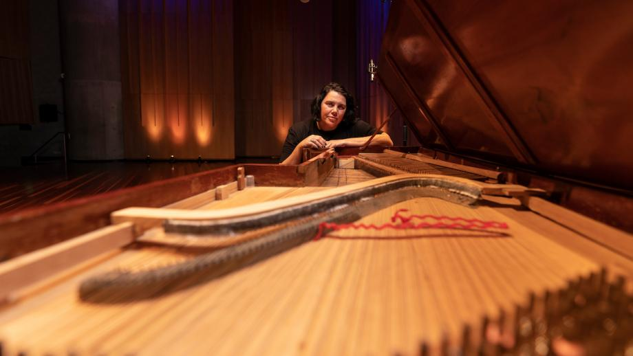 Nardi Simpson and the Henrion piano at the ANU School of Music. Photo: Jamie Kidston