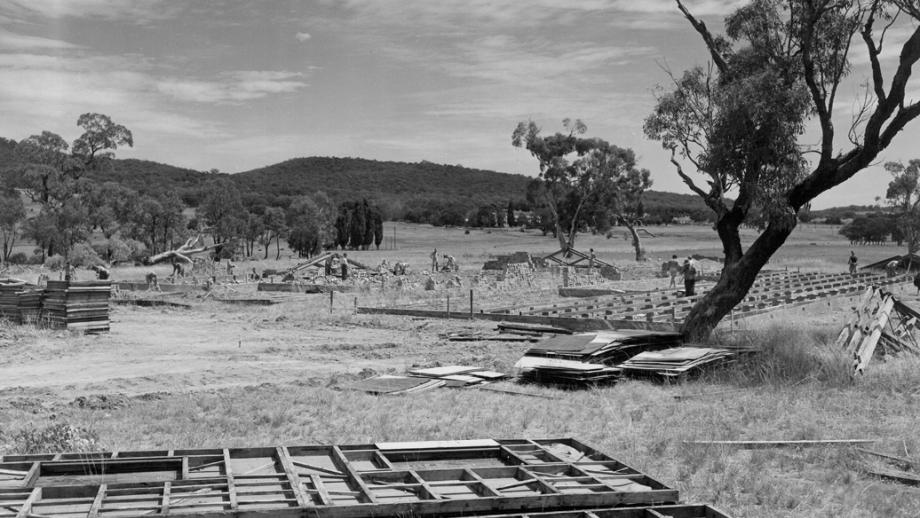 Construction in Old Admin Area in the late 1940s. Photo: ANU Archives.