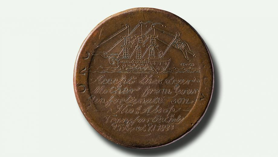Love token commissioned by Thomas Allsop (transported in 1833). Photo by Jason McCarthy, NMA.