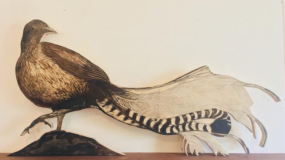 Encounters with significant others, (Superb Lyrebird). Woodcut, ink and pencil. Julian Laffan, 2020