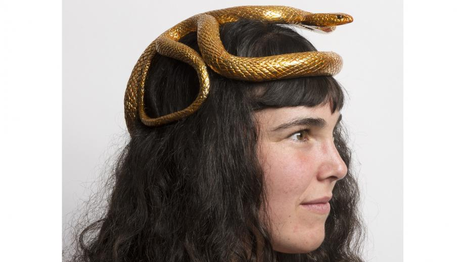 Australian Society of Herpetologists presidential crown, 2016, gold plated aluminium and bronze stand, 30x20x23cm, modelled by Pip Beale. Photo by Brenton McGeachie.