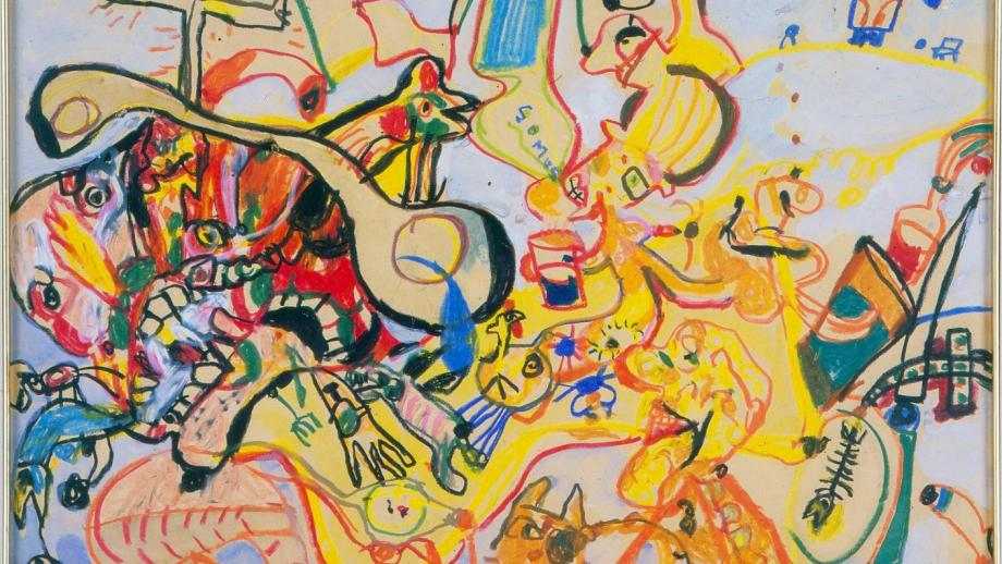 John Olsen, Somus, gouache and oil pastel on paper on board, 1966-67, ANU Collection. Photo by Stuart Hay.