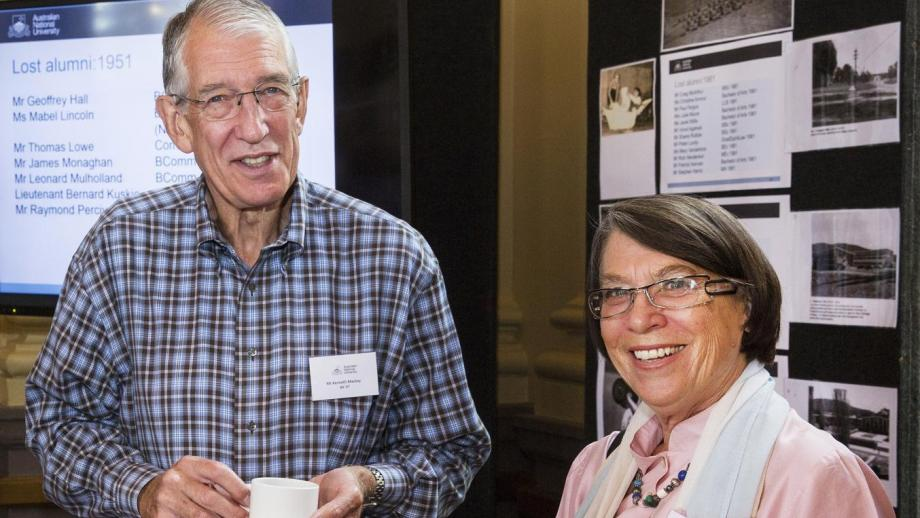Ken Mackay, BA '67, and Pamela Burton, BA '68, LLB '70, LLM '76, at the ANU Alumni Reunion Long Lunch in October 2015.