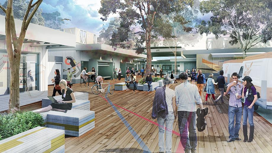Artist's impression of the pop-up village at ANU