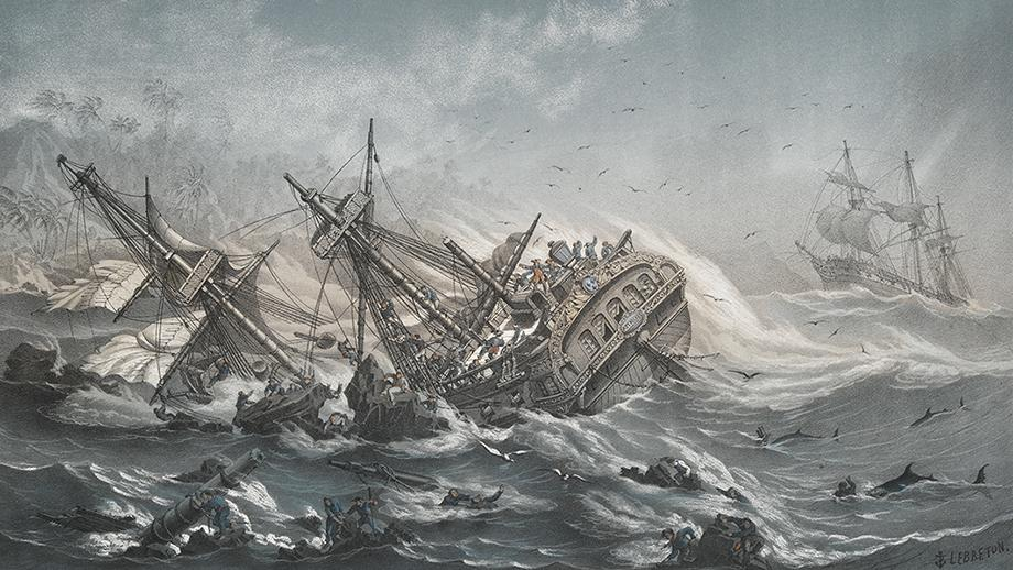 Disaster strikes the fleet at Vanikoro. Image: National Maritime Museum, Greenwich.