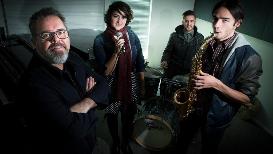 Andrew Farris with ANU School of Music students Rasemarie Costi, Alec Brinsmead and Hugo Lee.
