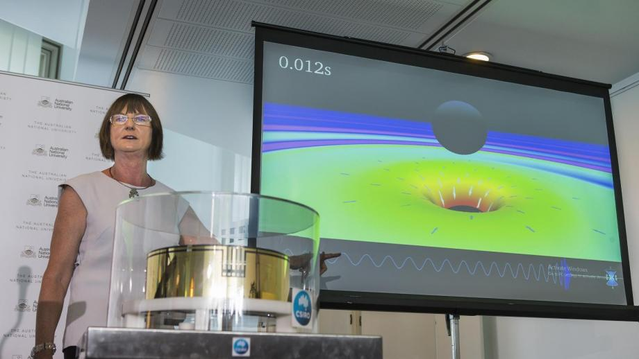 ANU Professor Susan Scott at the announcement of the discovery of gravitational waves at Parliament House. Photo by Stuart Hay.