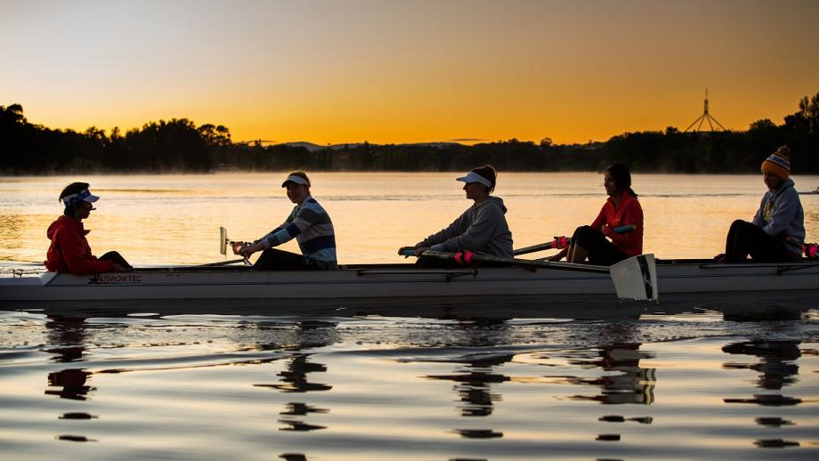 The ANU Rowing Club on Lake Burley Griffin. Photo by Stuart Hay.