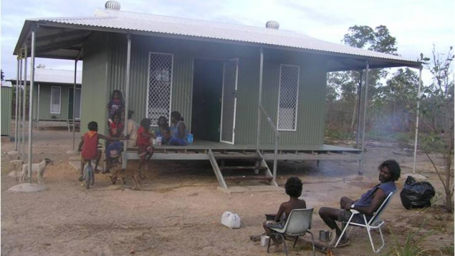 The living situation of members of the same group as in Figure 1 today at Donydji outstation.