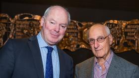 Gerard Vaughn and David Malouf at the Eat, Drink and Be Literary event at University House. Photo by Stuart Hay.