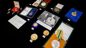Frank Fenner's medals in the Noel Butlin Archives at ANU. Photo by Stuart Hay.