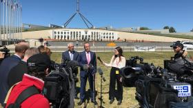 Georgia Leak at a media conference outside Parliament House.