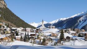 Swiss village in winter near Davos. Photo by Rolphus, Getty Images.