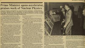 Prime MInister Gough Whitlam opened the ANU Heavy Ion Accelerator, as covered by ANU Reporter in 1973.