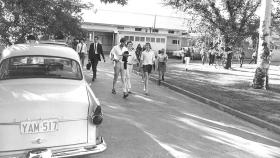 Students leaving classes at the former Childers Street buildings, 1969. Photo: ANU Archives.