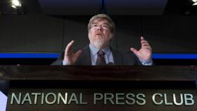 ANU Professor John Powers spoke at the National Press Club. Photo by Stuart Hay.