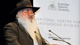Professor Patrick Dodson delivering the annual ANU Reconciliation Lecture. Photo by Stuart Hay.