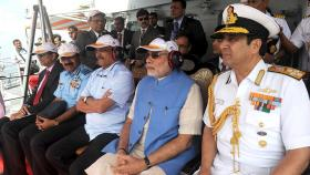 Prime Minister Narendra Modi aboard the INS Vikramaditya. Photo by narendramodiofficial on flickr.