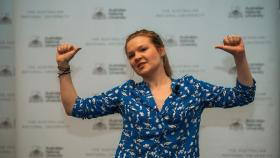 Rosanna Stevens won the 2014 3 Minute Thesis competition. Photo by Stuart Hay.