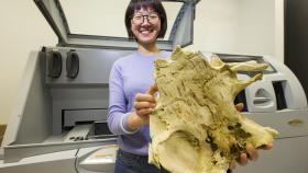 Yuzhi Hu with 3D printed fossil. Photo by Stuart Hay