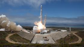 The Geosciences GRACE Follow-On spacecraft launches on a SpaceX Falcon 9 rocket in May 2018 at Vandenberg Air Force Base in California. Photo by NASA/Bill Ingalis.