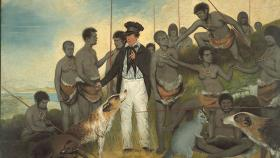 Benjamin Duterrau's The Conciliation is an idealised depiction of the British Protector of the Aborigines, George Augustus Robinson, at the centre of a group of Tasmanian Aboriginal people. Tasmanian Museum and Art Gallery.