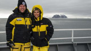 Dr Mike Double and Dr Natalie Schmitt, PhD '13 in the Southern Ocean.