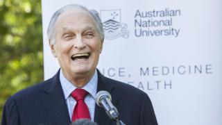 Alan Alda visited ANU to celebrate a link up between The Alda Center and the Australian National Centre for the Public Awareness of Science. Photo by Stuart Hay.