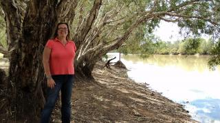 Dr Virginia Marshall at Myroodah Crossing in West Kimberley. Photo by Leena Fraser.