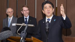ANU Emeritus Professor Peter Drysdale, ANU Vice-Chancellor Ian Young and Japan Prime Minister Shinzo Abe. Photo by Stuart Hay.