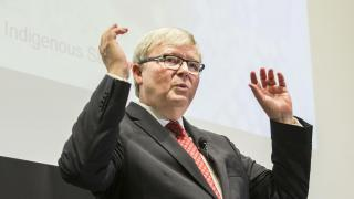 Former Prime Minister and ANU alumnus Kevin Rudd at the ANU Reconciliation Lecture. Photo by Stuart Hay.