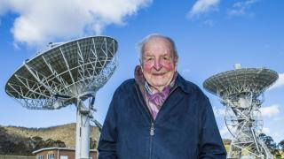 Emeritus Professor Ross Taylor at the Canberra Deep Space Communication Complex. Photo by Stuart Hay.