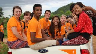 Jeeven Nadanakumar (front, centre) was part of a World Vision Australia youth group visit to Cambodia. Photo: supplied.