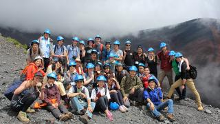 Students and staff from ANU and the University of Tokyo, and scientists from the Mount Fuji Research Institute, at the Mount Hoei crater on the flanks of Mount Fuji, at 2,500 metres above sea level. Photo by Holly White.