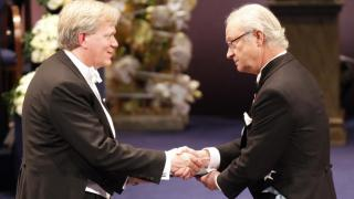 ANU Vice-Chancellor Brian Schmidt AC receiving his Nobel Prize for Physics in 2011.