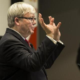 Kevin Rudd at ANU. Photo by Stuart Hay.