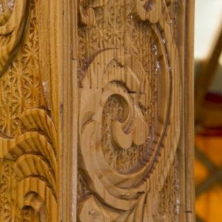 The intricate carvings of the Ger. Photo by Stuart Hay.
