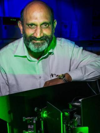 Distinguished Professor Chennupati Jagadish AC in his lab. Photo: Stuart Hay.