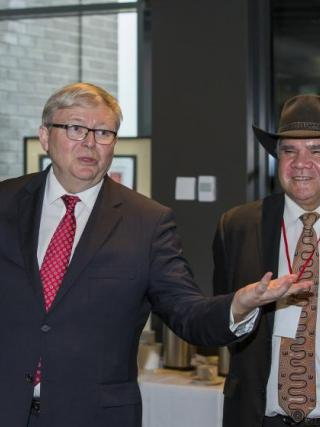 Kevin Rudd with Professor Mick Dodson AM at ANU. Photo by Stuart Hay.