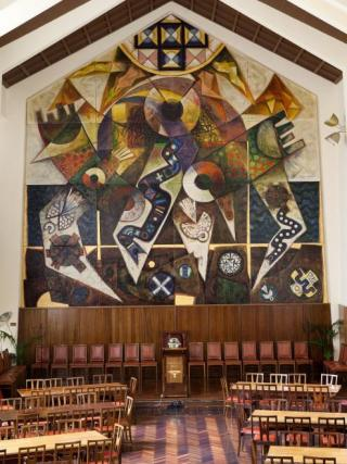 Leonard French, Regeneration, mural, 1972, University House collection. Photo by Stuart Hay.
