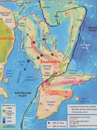 Map of Zealandia. Image by Nick Mortimer, GNS Science, Dunedin.